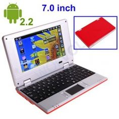 "ANDROID RED 7"" Mini Laptop Notebook Netbook PC WiFi TONS of Apps and Games Android 2.2 Market Built-in Camera 4gb HD 256mb Ram 2-4HR Battery Life (INCLUDES: Velvet Pouch Case, Charger, Mini Optical Mouse)    Product sku: 115Availability: 6Price: $179.99 $119.99"