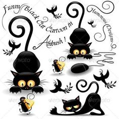 Buy Cat Cartoon in Ambush with Mouse and Birds by Bluedarkat on GraphicRiver. Cute and Funny Black Cat in Ambush looking at a Little Mouse passing with a big peace of Cheese! Image Chat, Cat Quilt, Cat Silhouette, Cat Crafts, Cat Tattoo, Cat Drawing, Cat Love, Crazy Cats, Cat Art
