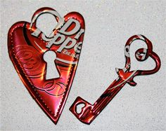 Recycled Soda Can Art-  Heart Lock and Key  Magnets.