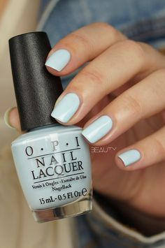 Blue nail polish, light blue nails, its a boy opi, pretty nail colors, pret Opi Nail Polish, Opi Nails, Nail Polish Colors, Manicures, Gradient Nails, Cute Nails, Pretty Nails, Light Blue Nails, Light Blue Nail Polish