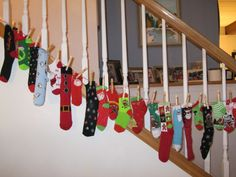 fill each of 25 socks with little toys and candy and watch the kids faces light up each day
