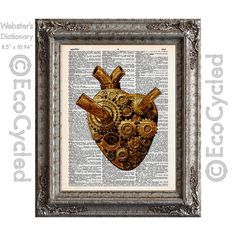 New to EcoCycled on Etsy: Steampunk Gear Heart on Vintage Upcycled Dictionary Art Print Book Art Print Recycled Repurposed Cardiac Machine Gears (10.00 USD)