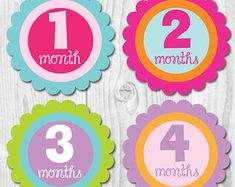 Your place to buy and sell all things handmade Baby Month Stickers, Baby Memories, Babies First Year, Baby Shirts, Baby Girl Gifts, Baby Elephant, Baby Month By Month, Personalized Baby, Baby Names