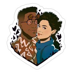 Whitley and Dwayne Sticker (Thumb): I want everything this artist does. Love love love...
