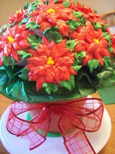 Poinsettia Cupcake Bouquet Winter Cupcakes, Christmas Cupcakes, Christmas Candy, Christmas Treats, Cupcake Flower Bouquets, Edible Bouquets, Flower Cupcakes, Holiday Cakes, Xmas Cakes