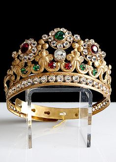 19th Century Gilt Brass Tiara with Red and Green Facet Cut Glass Jewels.