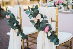Pink and White Flower Wedding Chair Decorations