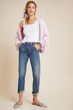 Petite Pilcro and the Letterpress High-Rise Slim Boyfriend Jeans in Blue Size: 31 P, Women's Denim at Anthropologie Fall Fashion Outfits, Casual Outfits, Fashion Trends, Boyfriend Jeans, Mom Jeans, Skinny Jeans, Clothes For Sale, Clothes For Women, Anthropologie Clothing