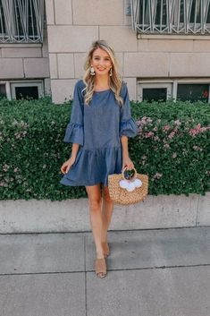 Casual Outfits For Teens, Casual Summer Dresses, Dress Casual, Teen Outfits, Teen Dresses, Woman Outfits, Club Outfits, Denim Dress Outfit Summer, Summer Dresses With Sleeves