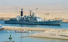 Type 42 Destroyer in Suez Canal Old Tv Shows, Navy Ships, Submarines, Royal Navy, Battleship, Armed Forces, Sailing Ships, Statue Of Liberty, Abandoned