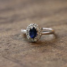 18k White Gold Natural Oval Blue Sapphire and by MidPointDesign