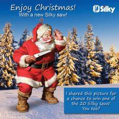 Enjoy Christmas, with a new Silky saw! This year Silky Europe decided to help Santa Claus by giving away 20 free Silky saws on 20th December - 20 h 00! What do you need to do, to be one of the lucky 20?  1 Like Silky Europe Facebook 2 Share this photo on Facebook 3 Follow Silky Europe for more instructions 4 Win a new Silky saw!  Link to Facebook: https://www.facebook.com/SilkyEurope  Good luck!