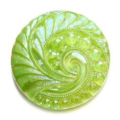 Button ~ Glass Lime Green Vintage Moonglow with Aurora Finish Medium by KPHoppe on Etsy