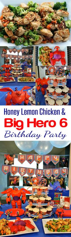 A Big Hero 6 Birthday Party w/ cupcake toppers, candy wrappers, party decorations, Honey Lemon Chicken recipe, cupcake tower, Big Hero 6 DVD release & toys. Fun for the whole family! From HappyandBlessedHome.com #BigHero6Release #Ad #BirthdayParty #CBias