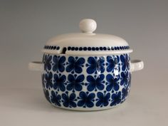 Vintage Rörstrand Sweden Mon Amie Casserole with Lid - 1 1/2 Qt Round Covered Casserole - Marianne Westman Design - Blue & White Swedish by EightMileVintage on Etsy