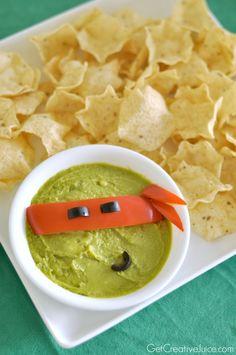 #TMNT - Teenage Mutant Ninja Turtles Guacamole! super easy and cute!
