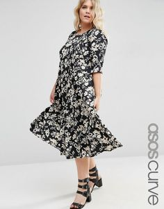 ASOS Curve | ASOS CURVE Pleat Front Smock City Maxi In Mono Floral Print at ASOS