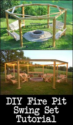 Build Your Own Fire Pit Swing Set Thinking of improving your outdoor living space? How about build a fire pit swing set! See the step-by-step tutorial here The post Build Your Own Fire Pit Swing Set appeared first on Outdoor Diy. Fire Pit Swings, Fire Pit Area, Diy Fire Pit, Fire Pit Ideas With Swings, Fire Pit Seating, Backyard Swings, Fire Pit Backyard, Fire Pit Gazebo, Backyard Seating
