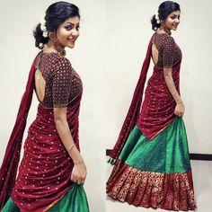 Lehenga Saree Design, Half Saree Lehenga, Lehnga Dress, Lehenga Designs, Bridal Lehenga, Saree Blouse, Half Saree Designs, Sari Blouse Designs, Saree Hairstyles