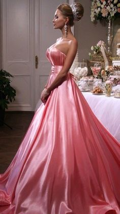 Princess dresses i love pink gowns, satin dresses и satin go Gala Dresses, Satin Dresses, Sexy Dresses, Rosa Satin, Satin Gown, Pink Satin, Pink Gowns, Pink Dress, Long Formal Gowns