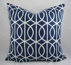 Decorative Pillow Cushion Cover - Accent Pillow - Throw Pillow - Dwell - Gate Twilight, Trellis, Blue White - 18 x 18 Inch. $32.00, via Etsy.