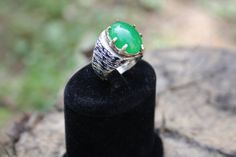 enamel sterling silver gem ring // green, dark blue // special design , unique enamel ring