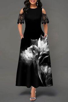 Party Dresses For Women Flower Print Lace Panel Cold Shoulder Maxi Dress Women's Fashion Dresses, Casual Dresses, Maxi Dresses, Trendy Dresses, Popular Dresses, Cheap Dresses, Black Dresses Online, Dress Online, Club Party Dresses
