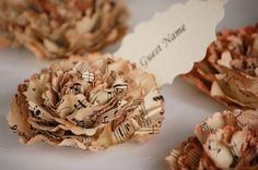Beautiful, and good for the earth. Use old sheet music to create  place cards and have Indigo Envelope personalize them.