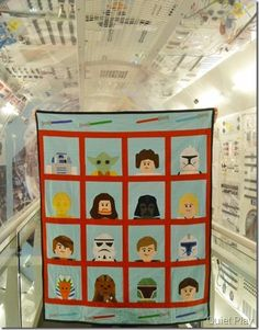 LEGO star Wars quilt in the space shuttle - Link to free paper-piecing patterns by Kristy @ Quiet Play