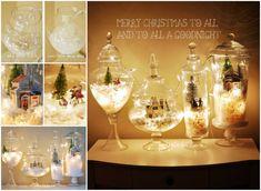 Fairy Light Snow Globe Terrarium   Christmas Decor