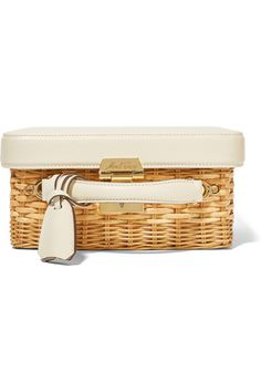 Ivory textured-leather (Calf), tan rattan Push lock fastening at top Comes with dust bag Weighs approximately 3.1lbs/ 1.4kg Made in Italy