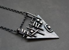 Sterling silver triangle pendant. Sterling by Kailajewellery