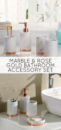 This beautiful bathroom accessory set your make the perfect housewarming gift! Marble Look with Rose Gold Trim 5 Piece Bathroom Accessory Set  #marbledecor #housewarminggift #bathroomaccessories #bathroomdecoration #bathroomdecorideas #masterbathroom #ad
