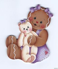 ***Love the two bows on her head and the teddy bear's face.Ginger Girl and her Snowbaby Christmas Clipart, Christmas Printables, Christmas Art, Christmas Ornaments, Xmas, Gingerbread Crafts, Christmas Gingerbread, Decoupage, Tole Painting Patterns