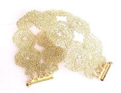 Crochet wire cuff bracelet, wire crochet gold bracelet, crochet wire jewelry, gold bridal cuff. $46.00, via Etsy.
