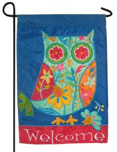 Floral Owl Sculpted Applique House Flag Appliques Flags and Owl