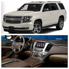 My new ride. 2015 Chevy Tahoe LTZ. White Diamond exterior with chocolate and tan leather interior. ❤️