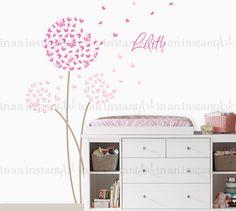Paardebloem muur sticker Aangepaste kleur met door InAnInstantArt