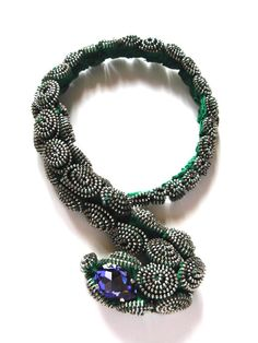 The Green Viper Zipper Necklace by ReborneJewelry on Etsy, $450.00