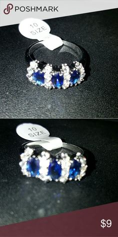 Blue Sapphire & Crystal Style Ring Beautiful rich blue color sapphire style with crystals. Jewelry Rings