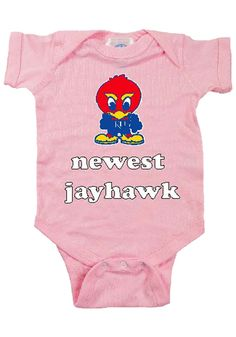 Kansas Jayhawks Infant Pink Newest Jayhawk Onesie