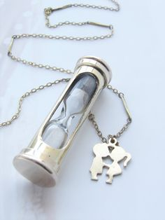 Hour Glass Necklace  mini sand timer vintage chain by soradesigns, $27.50