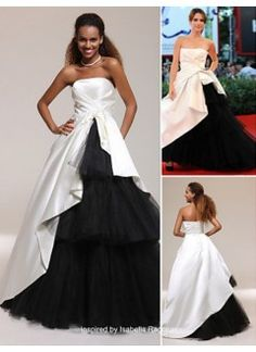 Trendy Ball Gown Strapless Floor-length Satin and Tulle Prom Dress inspired by Isabella Ragonese