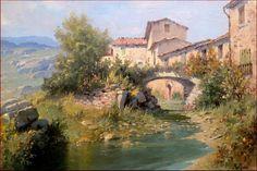 "ITALIAN MASTER PAINTER CLAUDIO PALLINI ""ANCIENT VILLAGE"" OIL PAINTING ITALY #Impressionism"