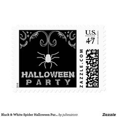 Black & White Spider Halloween Party Postage Stamp