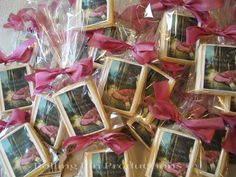 Little Photo Cookie Book Covers on their way to a book signing for the author today in Southampton, NY.  I loved the color of the silk that the client requested be used to trim the gifts.  It's so pretty! www.rollingpinproductions.com