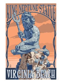 Virginia Beach, Virginia - King Neptune Statue Art Print