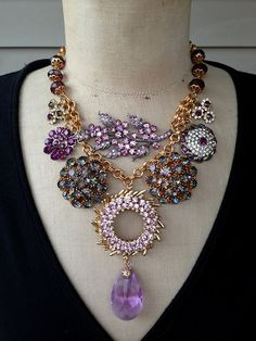 Vintage Statement Necklace Amethyst Repurposed Rhinestone by rebecca3030.etsy.com