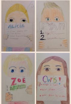 Zelfportret + goede voornemens. Nadruk op OGEN en HAAR. Gemaakt door kinderen uit groep 6!