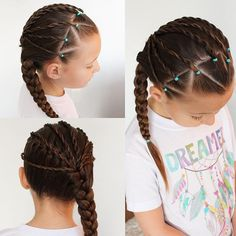 """""""Triangle partings with twists pulled into a diagonal French braid.  Her cute dreamer t-shirt is from @trendytreehouse and it's one of her favourites!"""" Photo taken by @sheerbraidedbliss on Instagram, pinned via the InstaPin iOS App! http://www.instapinapp.com (11/12/2015)"""